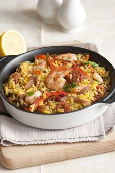 Prawn And Chorizo Paella Royalty Free Stock Image