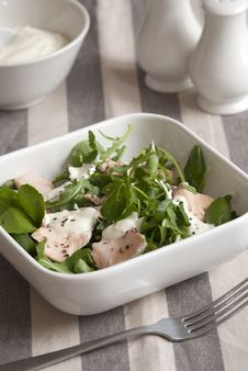 Free Salmon And Watercress Salad Royalty Free Stock Photography - 19789057