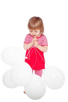 Free Little Girl With Balloons Royalty Free Stock Photography - 19789457