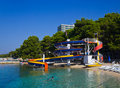 Free Waterslide And Catamaran On Beach Royalty Free Stock Photo - 19790205