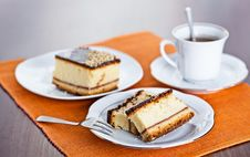 Free Cheese Cake With Coffee Royalty Free Stock Image - 19790026