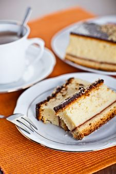 Free Cheese Cake With Coffee Stock Images - 19790074
