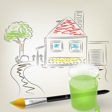 Free Painting With Brush And Glass With Color Royalty Free Stock Photo - 19790185