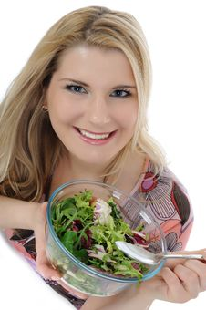 Beautiful Woman Eating Green Vegetable Salad Stock Images