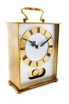 Free Gold Carriage Clock Over White Royalty Free Stock Image - 19790726