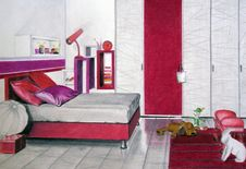 Free Bedroom Sketch Red Royalty Free Stock Image - 19790736