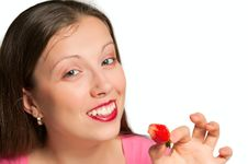 The Girl With Strawberry Stock Photo