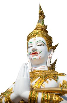 Free Thai Style Angel Statue On White Background Royalty Free Stock Image - 19791506