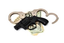 Free Revolver,  Dollars And The Handcuffs Royalty Free Stock Photo - 19792015