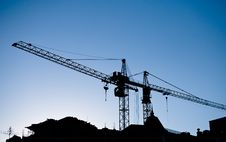 Free Construction Cranes Above Roofs Royalty Free Stock Image - 19792596