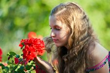 Free Girl With A Roses . Royalty Free Stock Images - 19792679