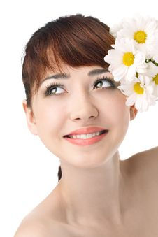 Free Beauty Woman With Flower Royalty Free Stock Images - 19792979
