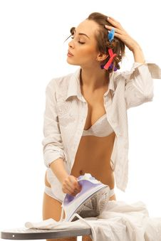 Free Sexy Woman Ironing Clothes Stock Images - 19793134