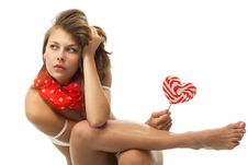 Free Woman With Heart Shaped Lollipop Stock Photography - 19793152