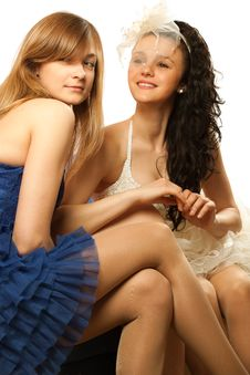 Free Bride Sitting With Envious Girlfriend Stock Images - 19793174