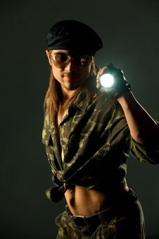 Free Soldier With Flashligh Stock Images - 19793194