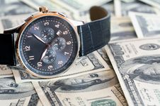 Free Wristwatch And Money Royalty Free Stock Photography - 19793957