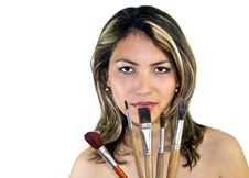 Free Beautiful Woman With Brushes Stock Photography - 19794432