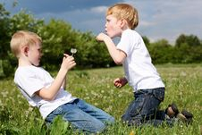 Two Brothers Outdoors Royalty Free Stock Images