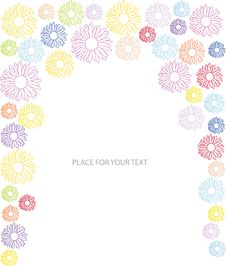 Free Abstract Frame With Many Color Flower Silhoues Royalty Free Stock Photos - 19795098