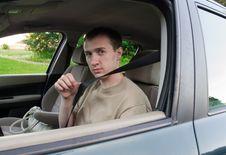 Free Man Drives A Car Royalty Free Stock Image - 19795566