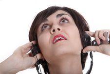 Girl Wiht Headphones Royalty Free Stock Photography
