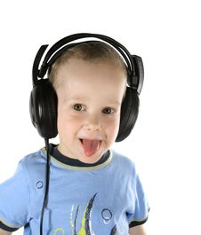 Little DJ Sticking One S Tongue Out Royalty Free Stock Image