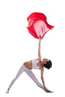 Free Woman Doing Yoga Pose And Red Flying Cloth In Air Royalty Free Stock Image - 19797086