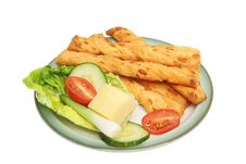 Free Cheese Twists And Salad Royalty Free Stock Photos - 19797538