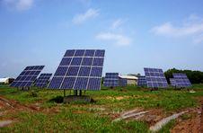 Solar Panels Against Blue Sky Stock Images