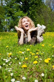 Free Happy Surprised Woman On Flower Field Royalty Free Stock Image - 19797676