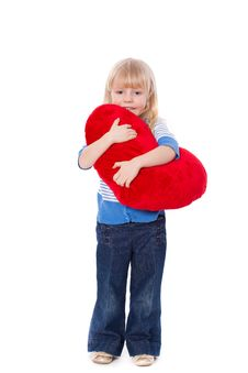 Free Little Girl With Red Heart At Hands Royalty Free Stock Photo - 19797705