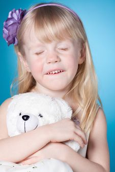 Free Happy Dreamy Little Girl With Toy Royalty Free Stock Photography - 19797717