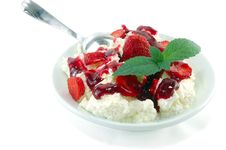 Dessert From Cottage Cheese With A Strawberry Stock Image