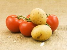 Potatoes And Tomatoes Royalty Free Stock Image