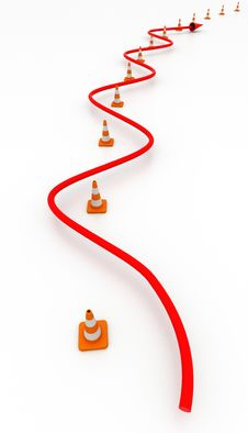 Red Line In Path Of Road Cones Stock Photos