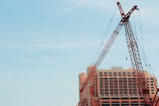 Free Large Construction Crane And Tall Building Royalty Free Stock Image - 19799706