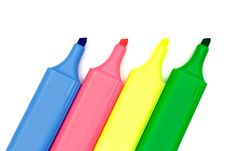 Free Four Multicolored Markers On White Paper Stock Image - 1982981
