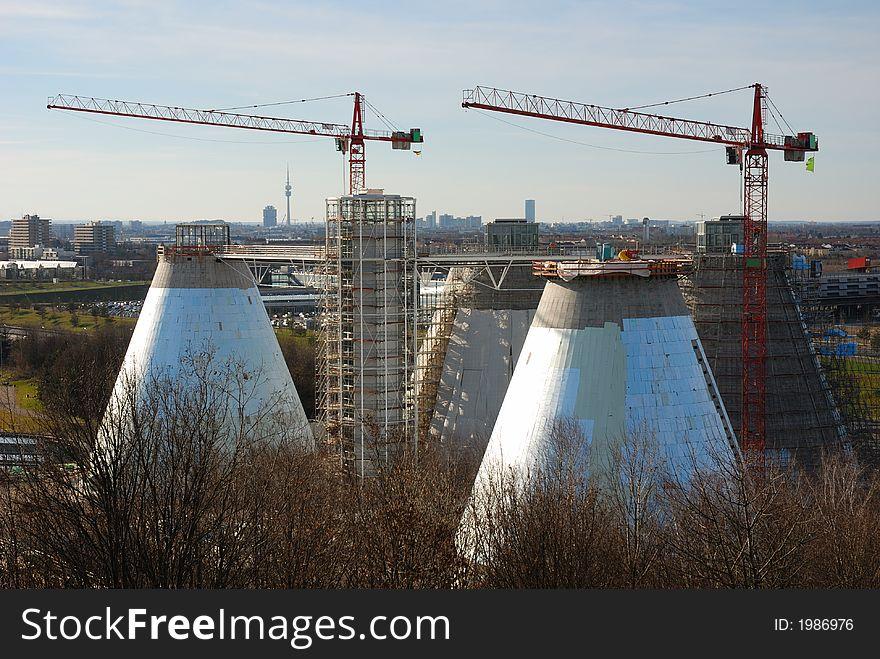 Sewage plant with cranes