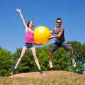 Free Young People Play With Yellow Ball Royalty Free Stock Photography - 19807177