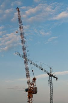 Free Two Cranes In The Evening Stock Photography - 19800012