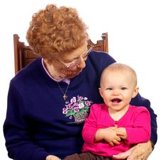 Great Grandma With Grand Baby Enjoying Each Other Royalty Free Stock Photography