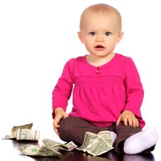 Free Infant Baby Girl Playing With Money Royalty Free Stock Photos - 19800168