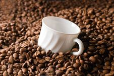 Empty Coffee Cup In Beans Royalty Free Stock Image