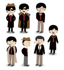 Free Cartoon Mafia Icon Set Royalty Free Stock Photography - 19802377