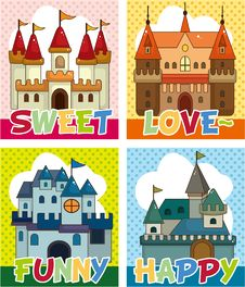 Free Cartoon Castle Card Stock Image - 19802401