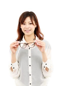 Free Portrait Of Happy Young Asian Woman With Glasse Stock Images - 19802664