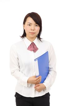 Free Young Asian Businesswoman Holding File Document Royalty Free Stock Images - 19802989