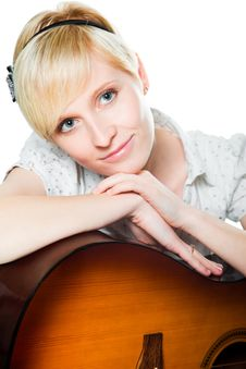 Free Blond Woman With Guitar On Isolated White Royalty Free Stock Photos - 19803068
