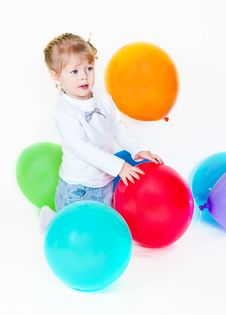 Free The Girl Catches Balloon Stock Photography - 19803332